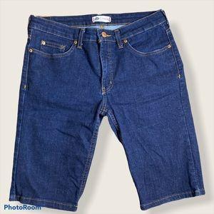 Dickies women's dark wash Bermuda denim shorts